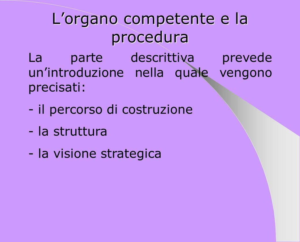 Lorgano competente e la procedura La parte descrittiva prevede unintroduzione nella quale vengono precisati: - il percorso di costruzione - la struttu