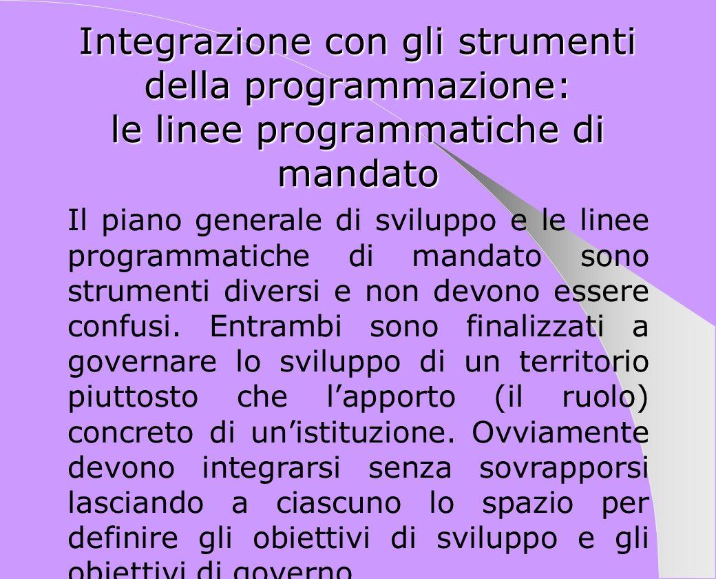 Integrazione con gli strumenti della programmazione: le linee programmatiche di mandato Il piano generale di sviluppo e le linee programmatiche di man