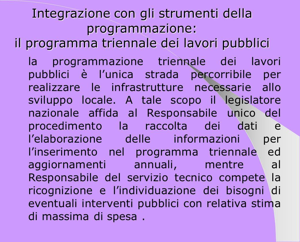 Integrazione con gli strumenti della programmazione: il programma triennale dei lavori pubblici la programmazione triennale dei lavori pubblici è luni