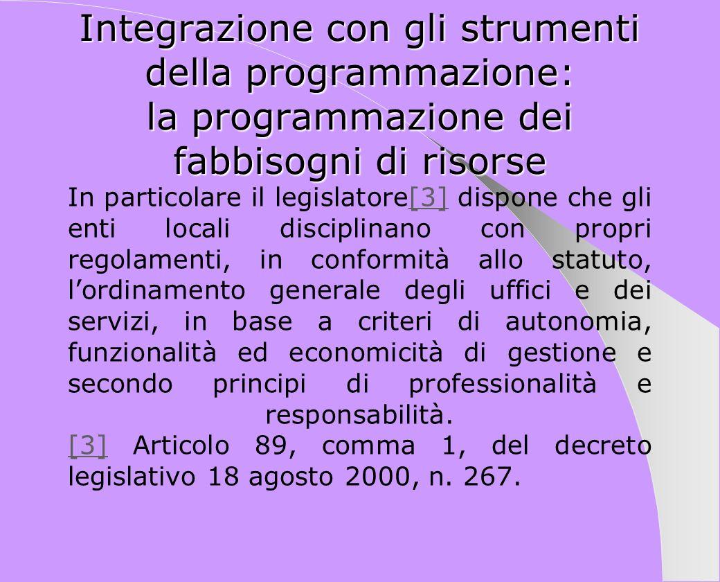 Integrazione con gli strumenti della programmazione: la programmazione dei fabbisogni di risorse In particolare il legislatore[3] dispone che gli enti