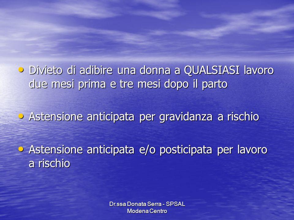 Dr.ssa Donata Serra - SPSAL Modena Centro Divieto di adibire una donna a QUALSIASI lavoro due mesi prima e tre mesi dopo il parto Divieto di adibire u