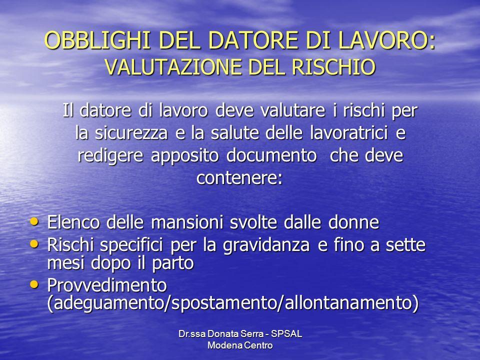 Dr.ssa Donata Serra - SPSAL Modena Centro OBBLIGHI DEL DATORE DI LAVORO: VALUTAZIONE DEL RISCHIO Il datore di lavoro deve valutare i rischi per la sic
