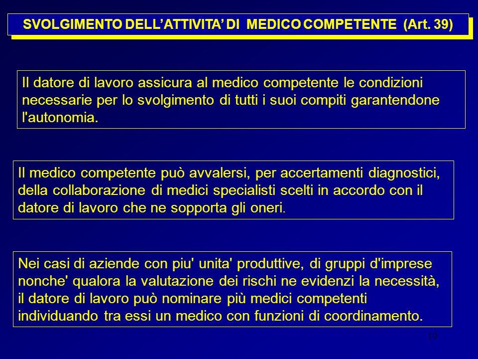10 SVOLGIMENTO DELLATTIVITA DI MEDICO COMPETENTE (Art. 39) Il datore di lavoro assicura al medico competente le condizioni necessarie per lo svolgimen