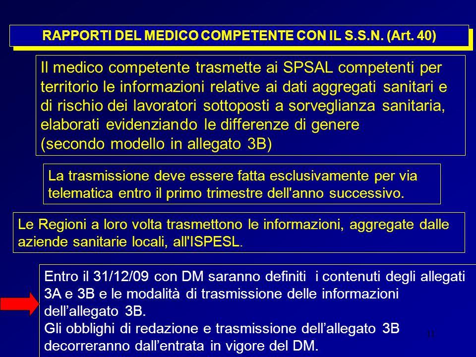 11 RAPPORTI DEL MEDICO COMPETENTE CON IL S.S.N. (Art. 40) Il medico competente trasmette ai SPSAL competenti per territorio le informazioni relative a