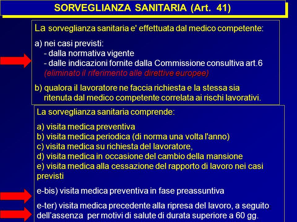 12 SORVEGLIANZA SANITARIA (Art. 41) La sorveglianza sanitaria e' effettuata dal medico competente: a) nei casi previsti: - dalla normativa vigente dir