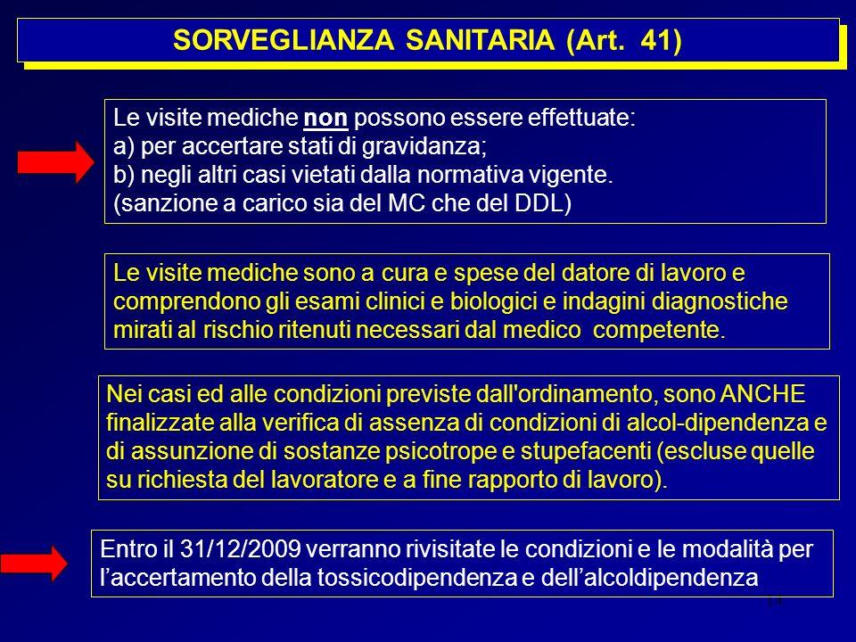 14 SORVEGLIANZA SANITARIA (Art. 41) Le visite mediche non possono essere effettuate: a) per accertare stati di gravidanza; b) negli altri casi vietati