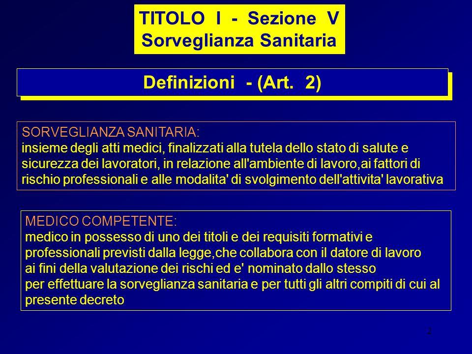2 Definizioni - (Art. 2) TITOLO I - Sezione V Sorveglianza Sanitaria SORVEGLIANZA SANITARIA: insieme degli atti medici, finalizzati alla tutela dello