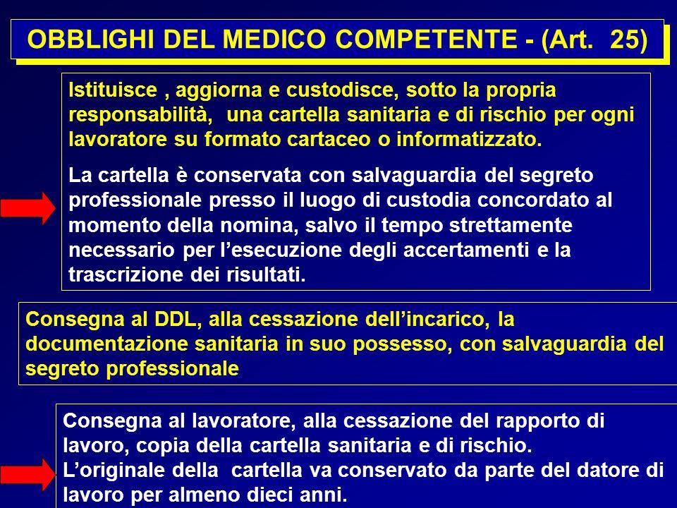 5 OBBLIGHI DEL MEDICO COMPETENTE - (Art. 25) Istituisce, aggiorna e custodisce, sotto la propria responsabilità, una cartella sanitaria e di rischio p