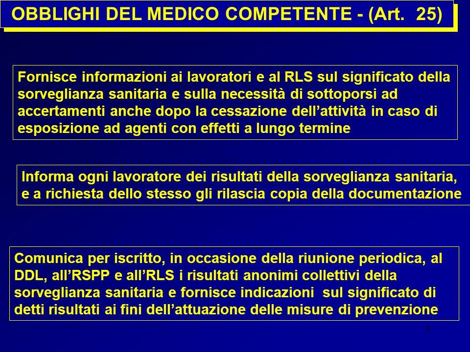 6 Fornisce informazioni ai lavoratori e al RLS sul significato della sorveglianza sanitaria e sulla necessità di sottoporsi ad accertamenti anche dopo
