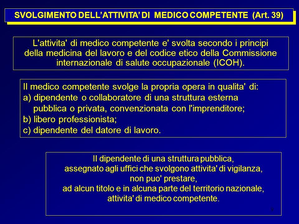 9 SVOLGIMENTO DELLATTIVITA DI MEDICO COMPETENTE (Art. 39) L'attivita' di medico competente e' svolta secondo i principi della medicina del lavoro e de