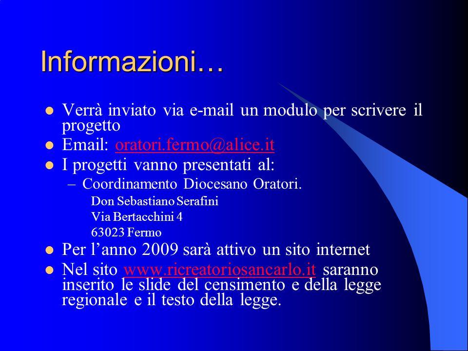 Informazioni… Verrà inviato via e-mail un modulo per scrivere il progetto Email: oratori.fermo@alice.itoratori.fermo@alice.it I progetti vanno presentati al: –Coordinamento Diocesano Oratori.