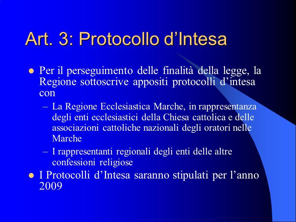 Art. 3: Protocollo dIntesa Per il perseguimento delle finalità della legge, la Regione sottoscrive appositi protocolli dintesa con –La Regione Ecclesi