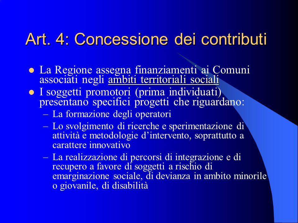 Art. 4: Concessione dei contributi ambiti territoriali sociali La Regione assegna finanziamenti ai Comuni associati negli ambiti territoriali sociali
