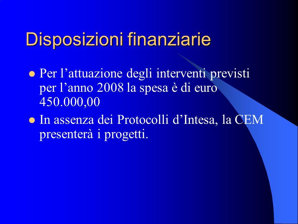 Disposizioni finanziarie Per lattuazione degli interventi previsti per lanno 2008 la spesa è di euro 450.000,00 In assenza dei Protocolli dIntesa, la CEM presenterà i progetti.
