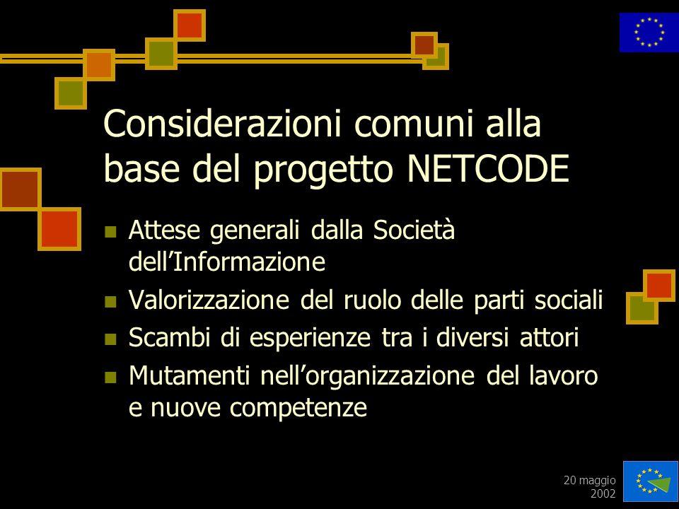 20 maggio 2002 Considerazioni comuni alla base del progetto NETCODE Attese generali dalla Società dellInformazione Valorizzazione del ruolo delle part