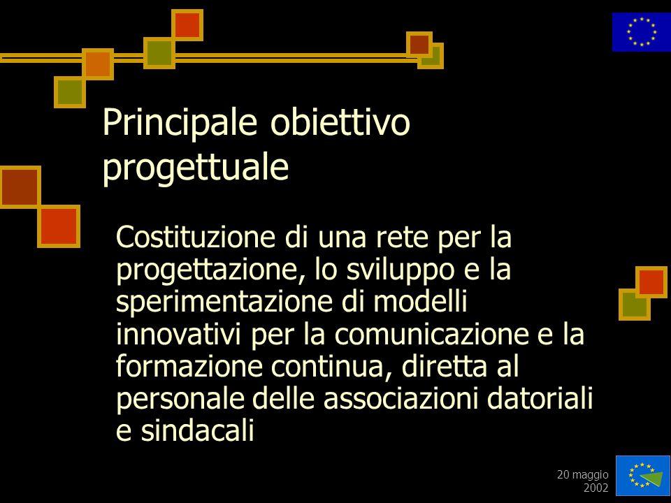 20 maggio 2002 Principale obiettivo progettuale Costituzione di una rete per la progettazione, lo sviluppo e la sperimentazione di modelli innovativi