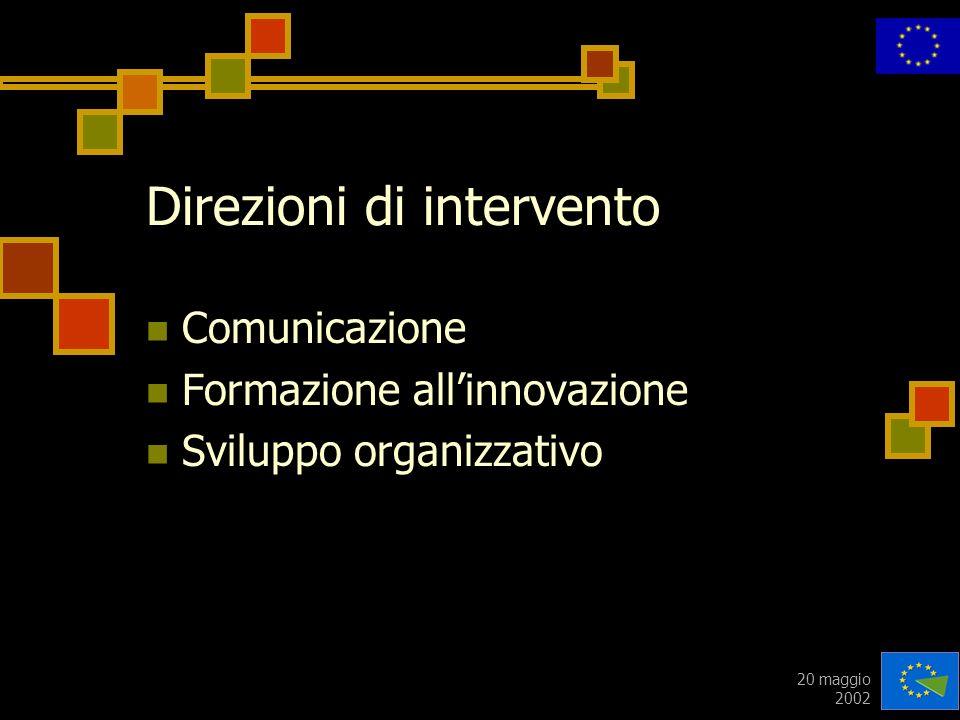 20 maggio 2002 Direzioni di intervento Comunicazione Formazione allinnovazione Sviluppo organizzativo
