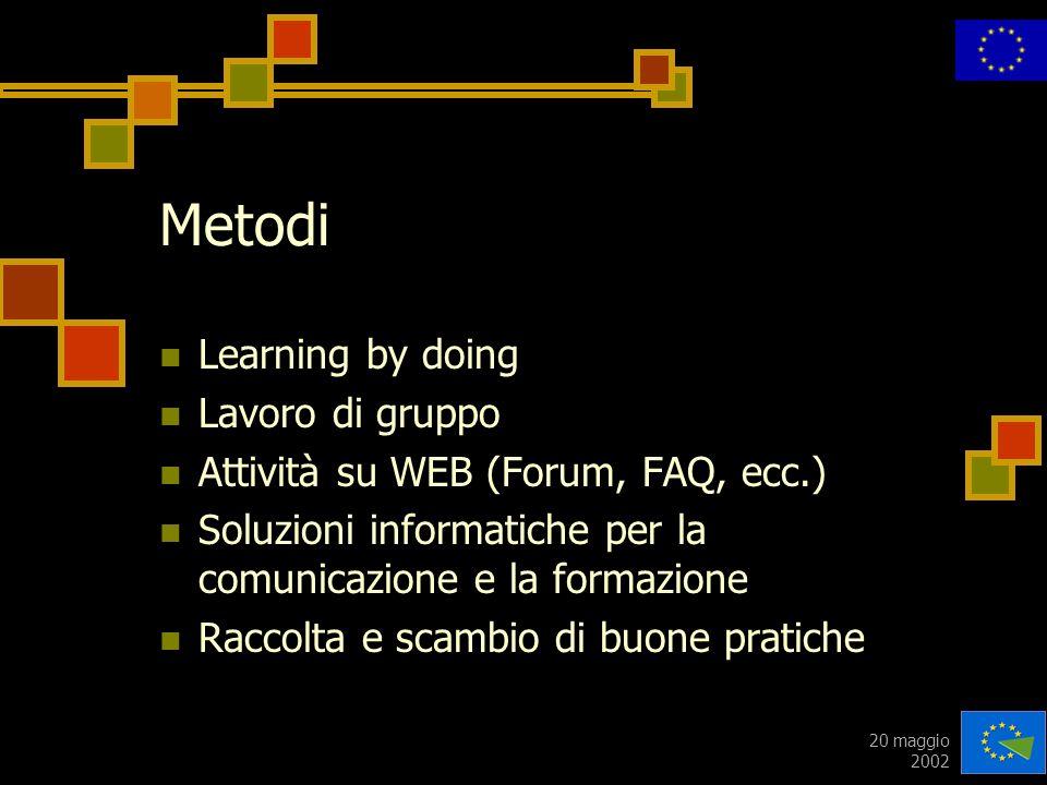 20 maggio 2002 Metodi Learning by doing Lavoro di gruppo Attività su WEB (Forum, FAQ, ecc.) Soluzioni informatiche per la comunicazione e la formazion