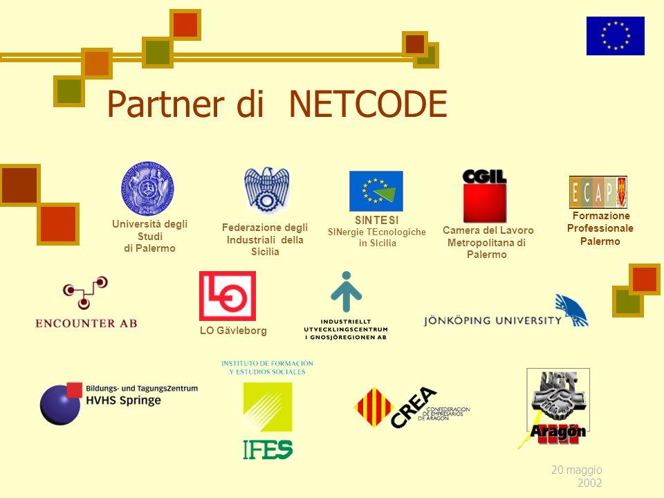 20 maggio 2002 Partner di NETCODE Federazione degli Industriali della Sicilia Formazione Professionale Palermo SINTESI SINergie TEcnologiche in SIcili
