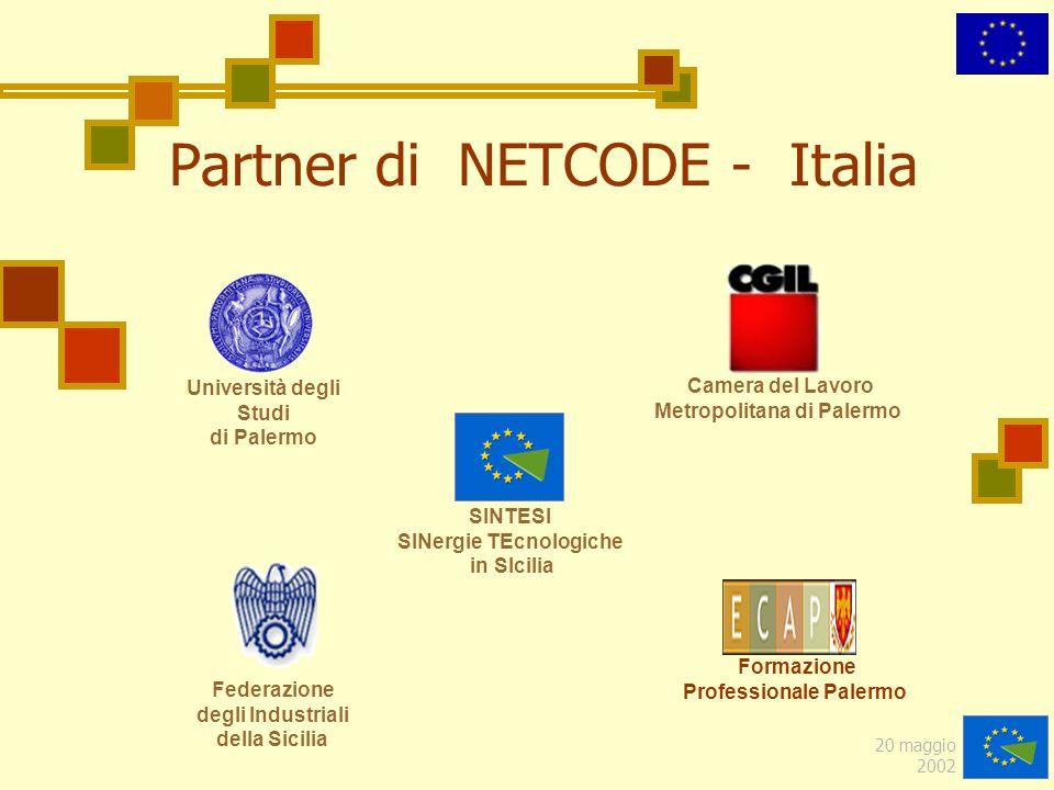20 maggio 2002 Partner di NETCODE - Italia Federazione degli Industriali della Sicilia Formazione Professionale Palermo SINTESI SINergie TEcnologiche