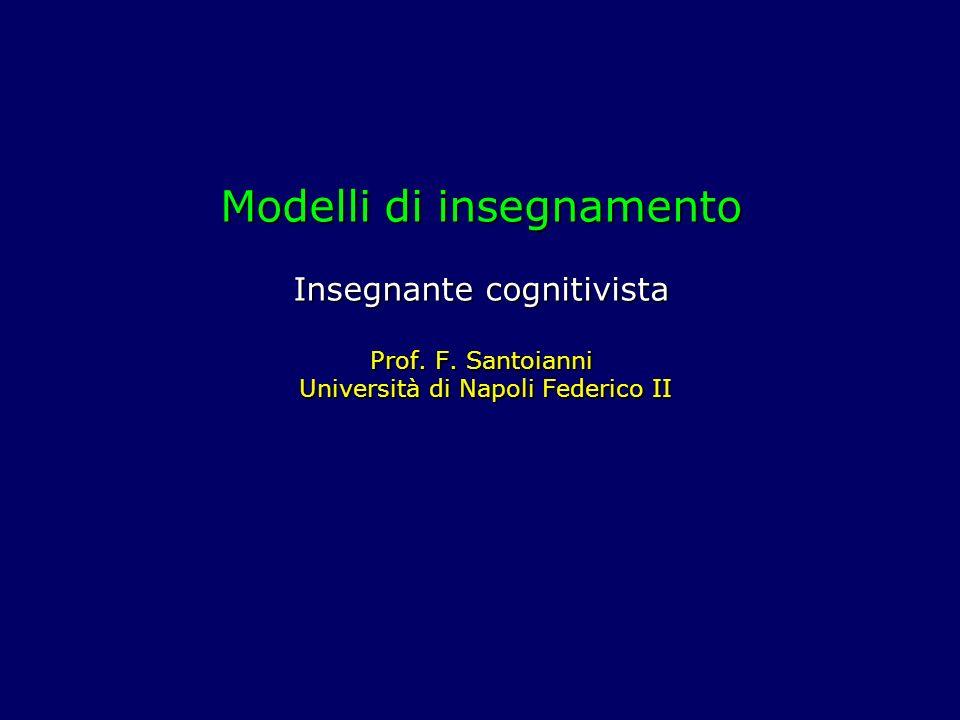 Modelli di insegnamento Insegnante cognitivista Prof.