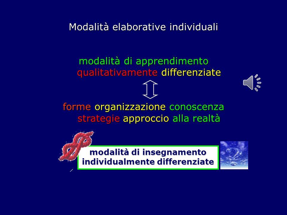 Modalità elaborative individuali modalità di apprendimento qualitativamente differenziate forme organizzazione conoscenza strategie approccio alla realtà modalità di insegnamento individualmente differenziate