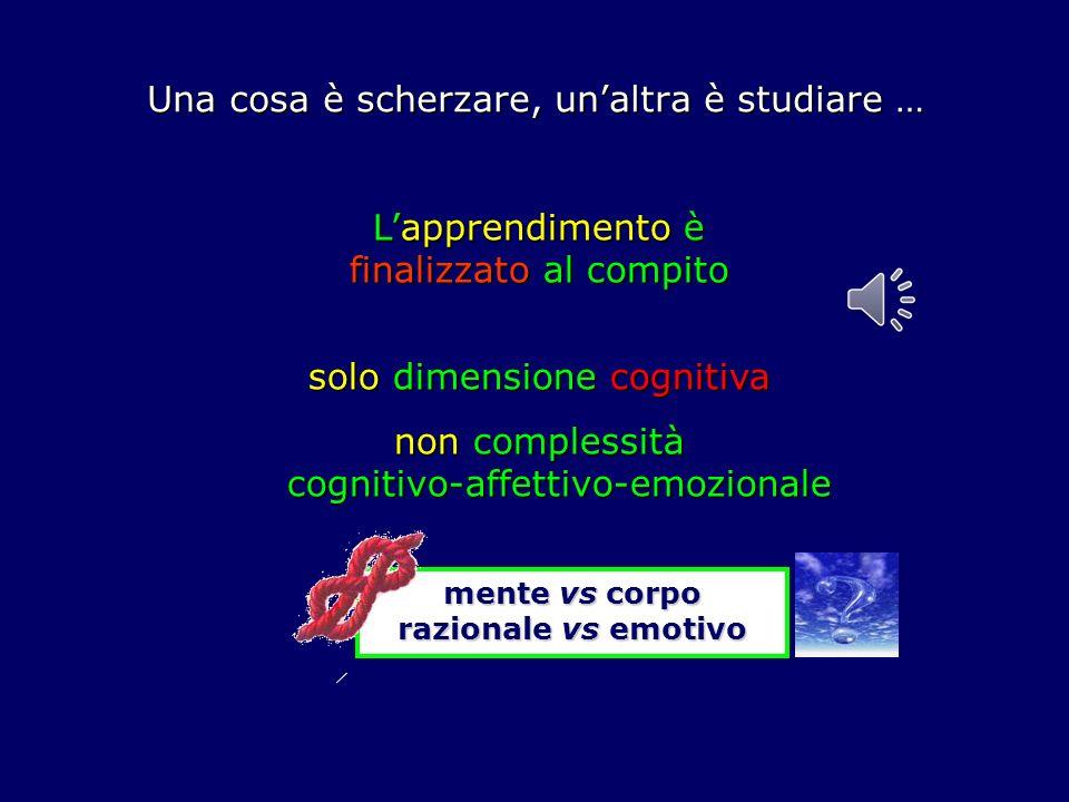 Una cosa è scherzare, unaltra è studiare … Lapprendimento è finalizzato al compito solo dimensione cognitiva non complessità cognitivo-affettivo-emozionale mente vs corpo razionale vs emotivo
