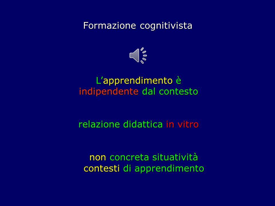 Formazione cognitivista Lapprendimento è indipendente dal contesto relazione didattica in vitro non concreta situatività contesti di apprendimento