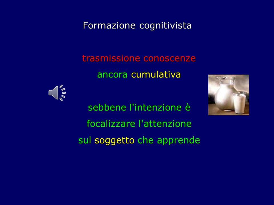 Formazione cognitivista trasmissione conoscenze ancora cumulativa sebbene l intenzione è focalizzare l attenzione sul soggetto che apprende