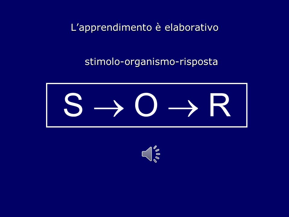 Lapprendimento è elaborativo stimolo-organismo-risposta S O R