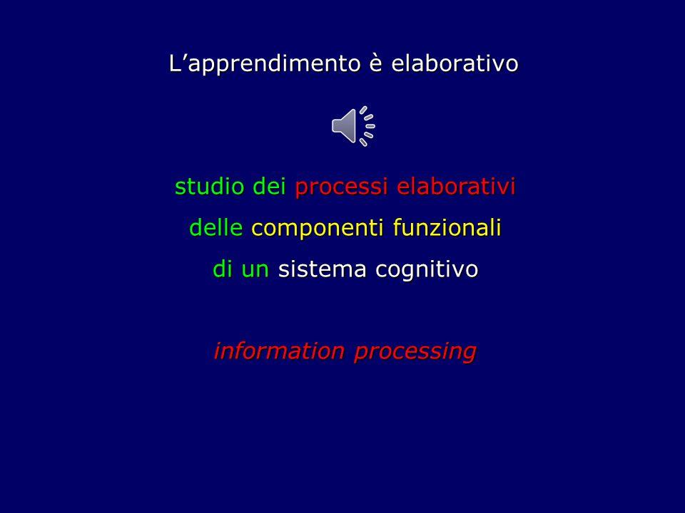 Lapprendimento è elaborativo studio dei processi elaborativi delle componenti funzionali di un sistema cognitivo information processing