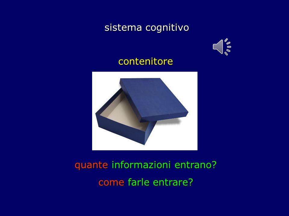sistema cognitivo sistema cognitivo contenitore quante informazioni entrano? come farle entrare?