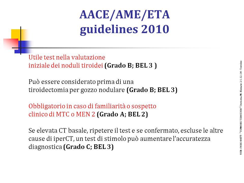 AACE/AME/ETA guidelines 2010 Utile test nella valutazione iniziale dei noduli tiroidei (Grado B; BEL 3 ) Può essere considerato prima di una tiroidectomia per gozzo nodulare (Grado B; BEL 3) Obbligatorio in caso di familiarità o sospetto clinico di MTC o MEN 2 (Grado A; BEL 2) Se elevata CT basale, ripetere il test e se confermato, escluse le altre cause di iperCT, un test di stimolo può aumentare laccuratezza diagnostica (Grado C; BEL 3) VEN-FOR38877- TUMORE TIROIDEO Dott.ssa M.