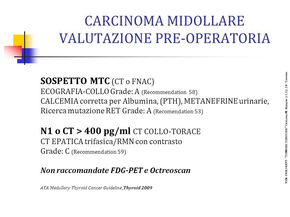 CARCINOMA MIDOLLARE VALUTAZIONE PRE-OPERATORIA SOSPETTO MTC (CT o FNAC) ECOGRAFIA-COLLO Grade: A (Recommendation 58) CALCEMIA corretta per Albumina, (PTH), METANEFRINE urinarie, Ricerca mutazione RET Grade: A (Recomendation 53) N1 o CT > 400 pg/ml CT COLLO-TORACE CT EPATICA trifasica/RMN con contrasto Grade: C (Recommendation 59) Non raccomandate FDG-PET e Octreoscan ATA Medullary Thyroid Cancer Guideline Thyroid 2009 VEN-FOR38877- TUMORE TIROIDEO Dott.ssa M.