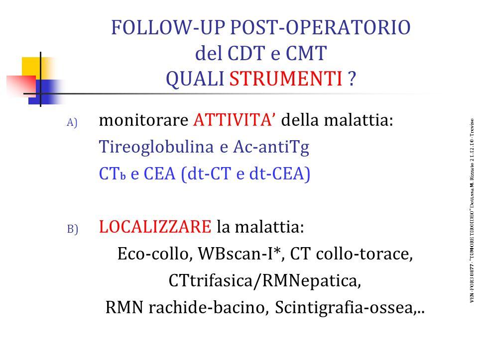 FOLLOW-UP POST-OPERATORIO del CDT e CMT QUALI STRUMENTI .
