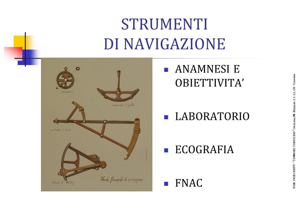 STRUMENTI DI NAVIGAZIONE ANAMNESI E OBIETTIVITA LABORATORIO ECOGRAFIA FNAC VEN-FOR38877- TUMORE TIROIDEO Dott.ssa M.