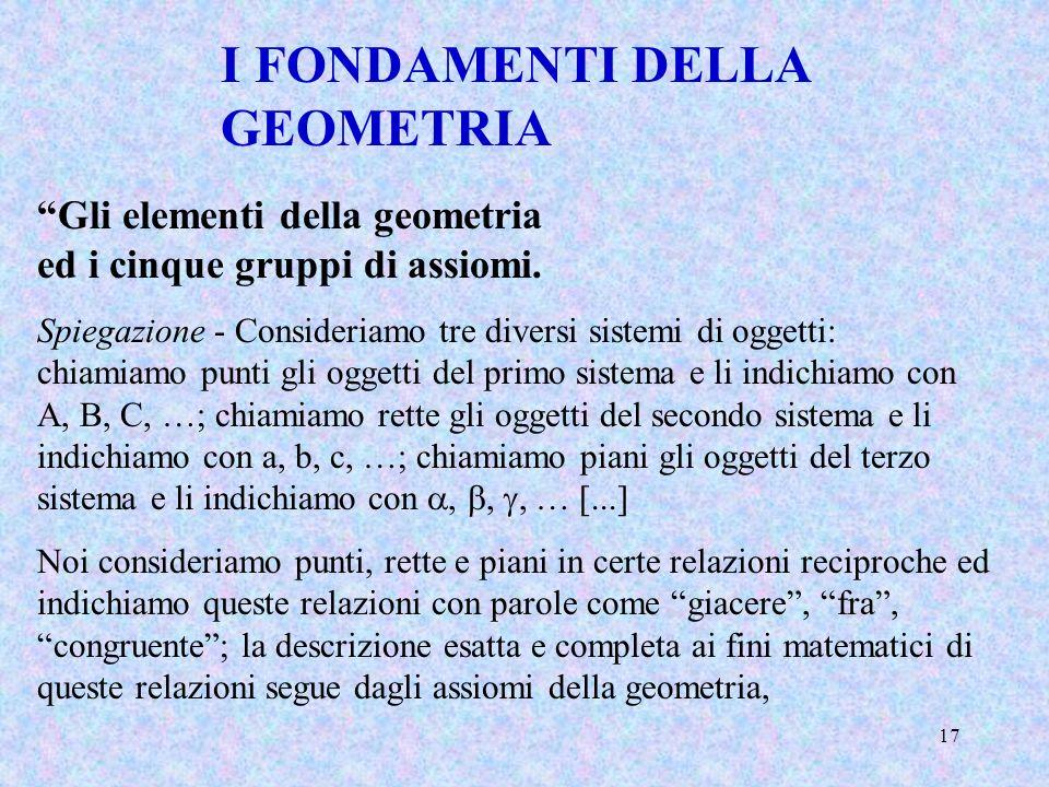 17 I FONDAMENTI DELLA GEOMETRIA Gli elementi della geometria ed i cinque gruppi di assiomi. Spiegazione - Consideriamo tre diversi sistemi di oggetti: