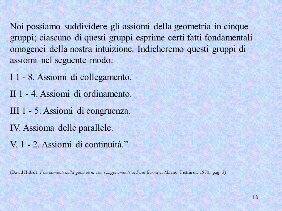 18 Noi possiamo suddividere gli assiomi della geometria in cinque gruppi; ciascuno di questi gruppi esprime certi fatti fondamentali omogenei della no