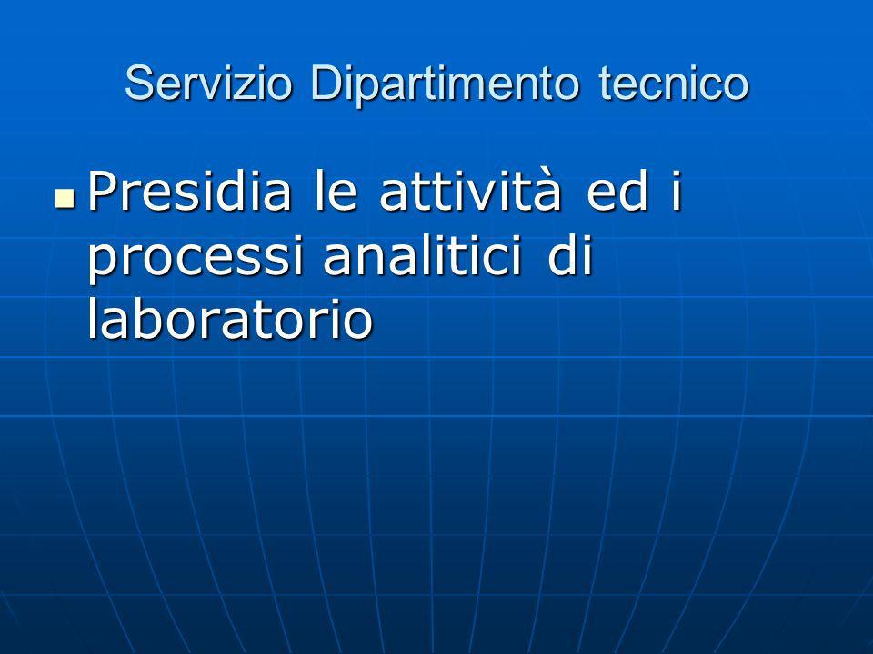 Servizio Dipartimento tecnico Presidia le attività ed i processi analitici di laboratorio Presidia le attività ed i processi analitici di laboratorio
