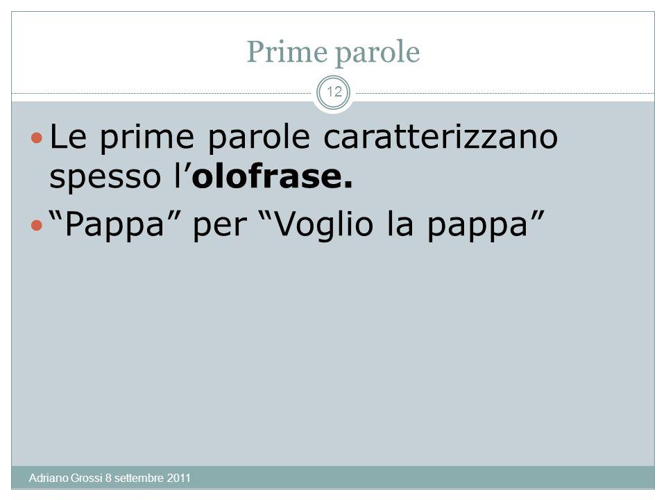 Prime parole Adriano Grossi 8 settembre 2011 12 Le prime parole caratterizzano spesso lolofrase.