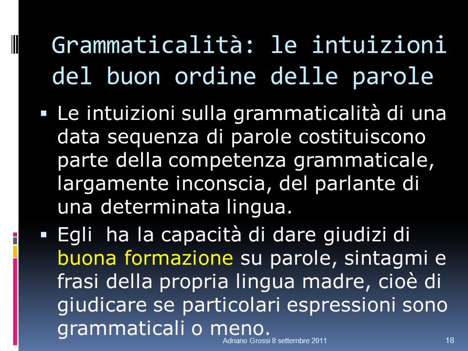 Grammaticalità: le intuizioni del buon ordine delle parole Le intuizioni sulla grammaticalità di una data sequenza di parole costituiscono parte della competenza grammaticale, largamente inconscia, del parlante di una determinata lingua.