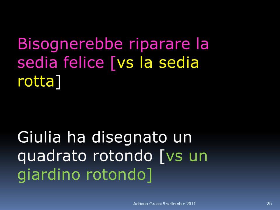 Bisognerebbe riparare la sedia felice [vs la sedia rotta] Giulia ha disegnato un quadrato rotondo [vs un giardino rotondo] 25 Adriano Grossi 8 settembre 2011