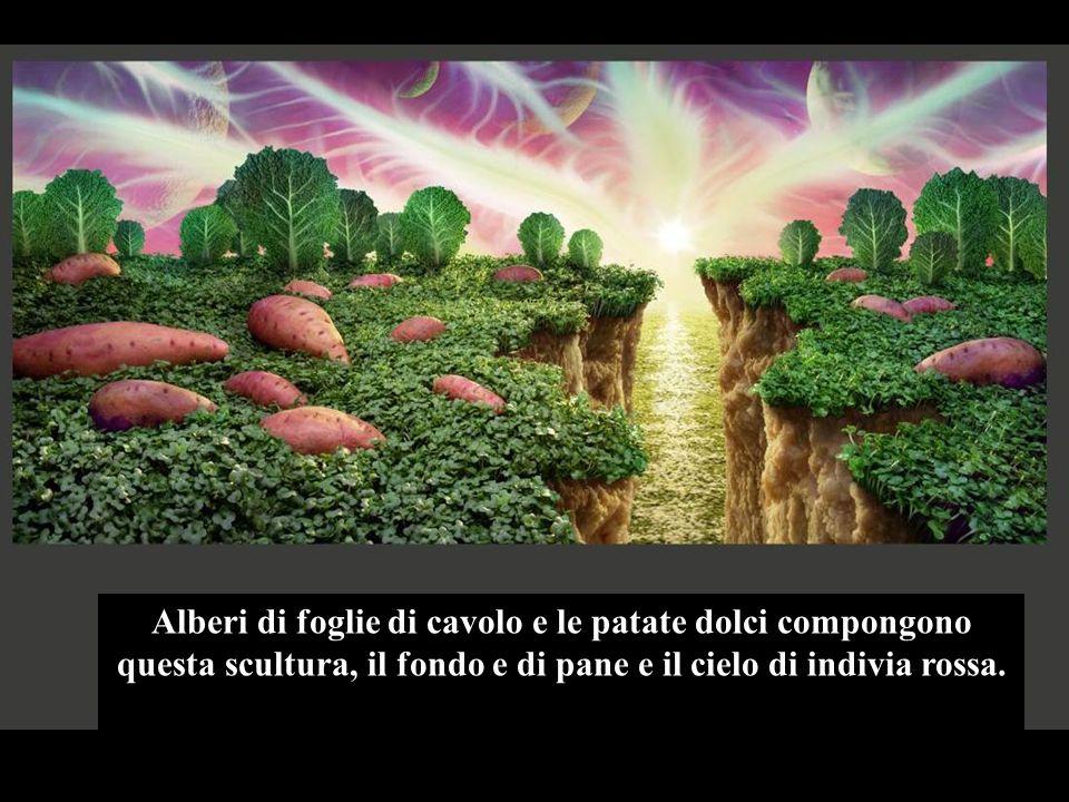 Alberi di foglie di cavolo e le patate dolci compongono questa scultura, il fondo e di pane e il cielo di indivia rossa.