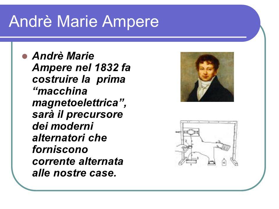 Andrè Marie Ampere Andrè Marie Ampere nel 1832 fa costruire la prima macchina magnetoelettrica, sarà il precursore dei moderni alternatori che forniscono corrente alternata alle nostre case.