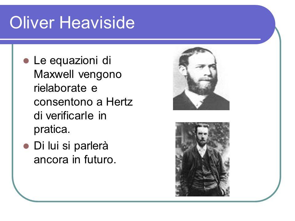 Oliver Heaviside Le equazioni di Maxwell vengono rielaborate e consentono a Hertz di verificarle in pratica.