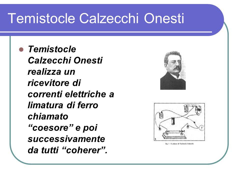 Temistocle Calzecchi Onesti Temistocle Calzecchi Onesti realizza un ricevitore di correnti elettriche a limatura di ferro chiamato coesore e poi successivamente da tutti coherer.