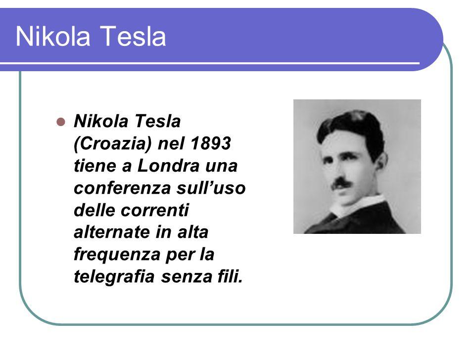 Nikola Tesla Nikola Tesla (Croazia) nel 1893 tiene a Londra una conferenza sulluso delle correnti alternate in alta frequenza per la telegrafia senza fili.