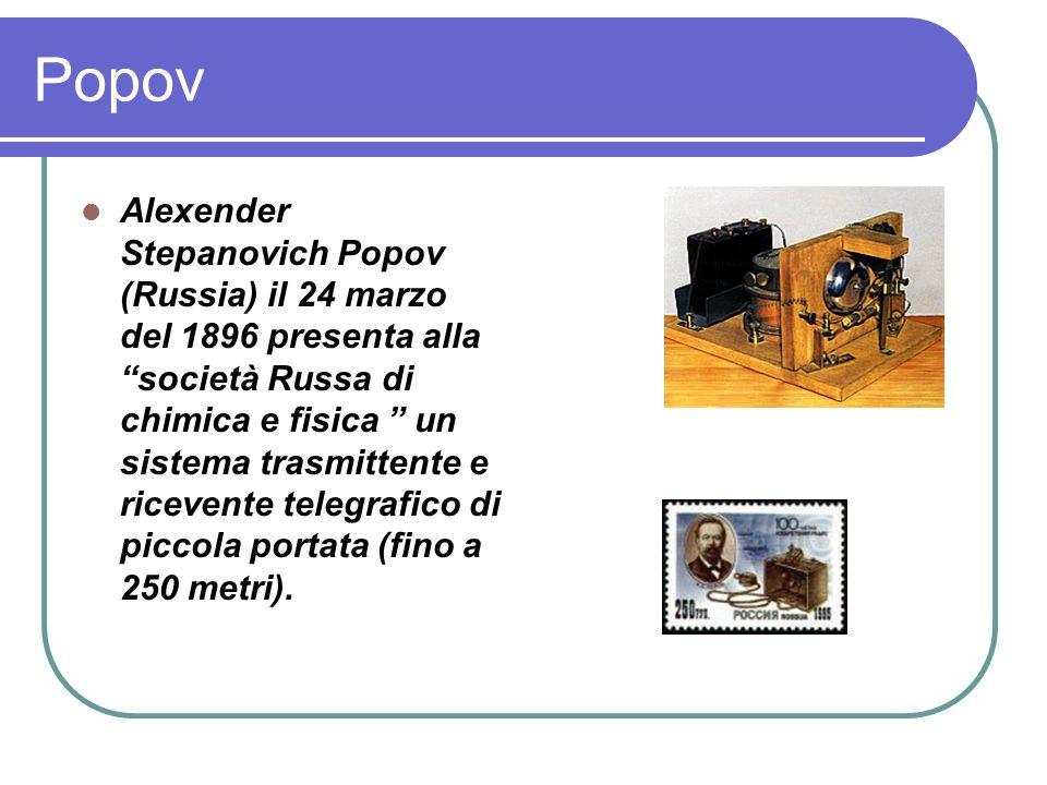 Popov Alexender Stepanovich Popov (Russia) il 24 marzo del 1896 presenta alla società Russa di chimica e fisica un sistema trasmittente e ricevente telegrafico di piccola portata (fino a 250 metri).