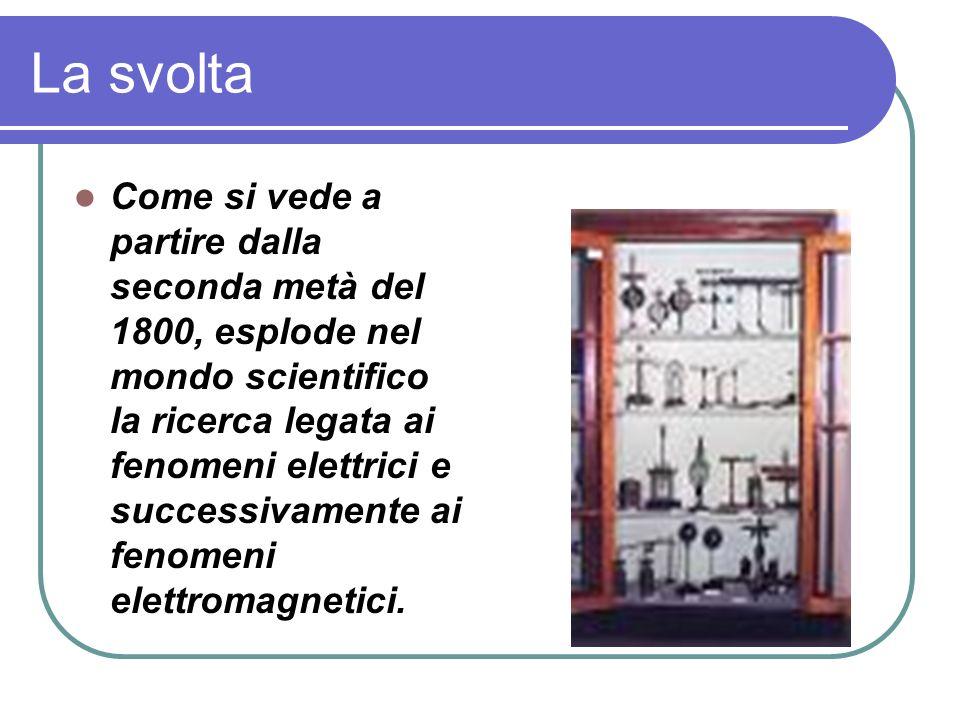 La svolta Come si vede a partire dalla seconda metà del 1800, esplode nel mondo scientifico la ricerca legata ai fenomeni elettrici e successivamente ai fenomeni elettromagnetici.