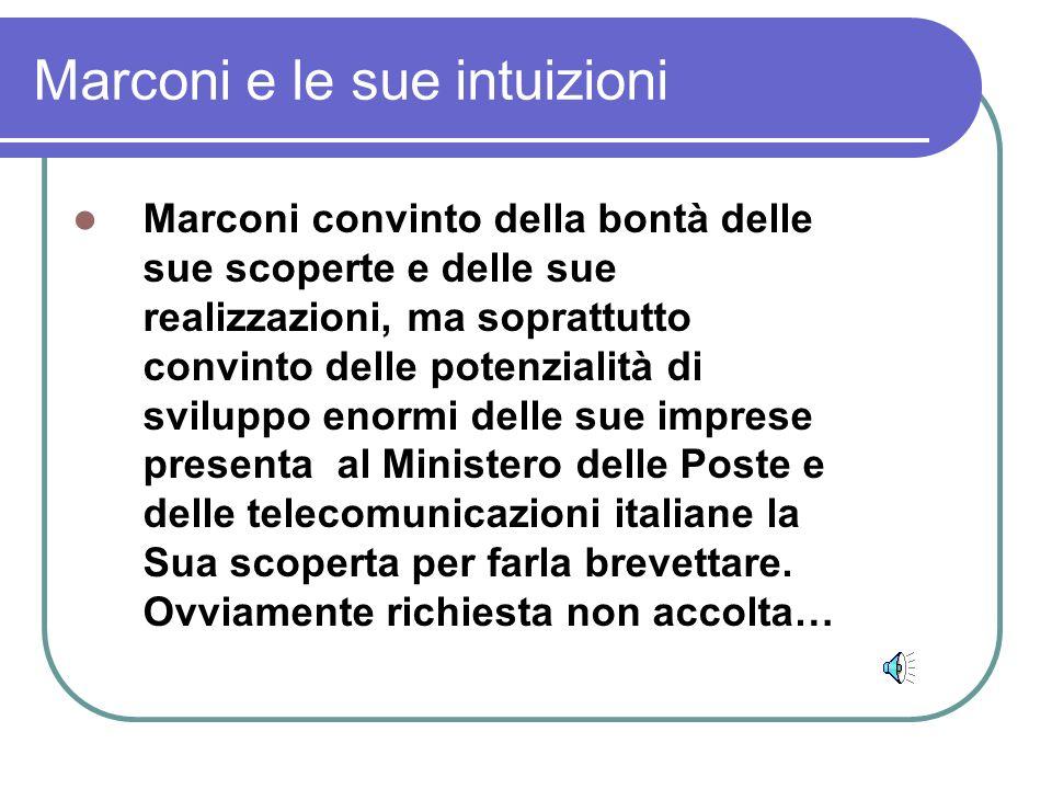 Marconi e le sue intuizioni Marconi convinto della bontà delle sue scoperte e delle sue realizzazioni, ma soprattutto convinto delle potenzialità di sviluppo enormi delle sue imprese presenta al Ministero delle Poste e delle telecomunicazioni italiane la Sua scoperta per farla brevettare.